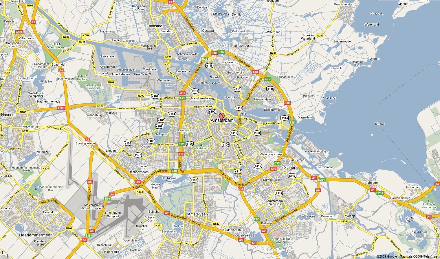 Kart Over Amsterdam Kart I Amsterdam Nederland