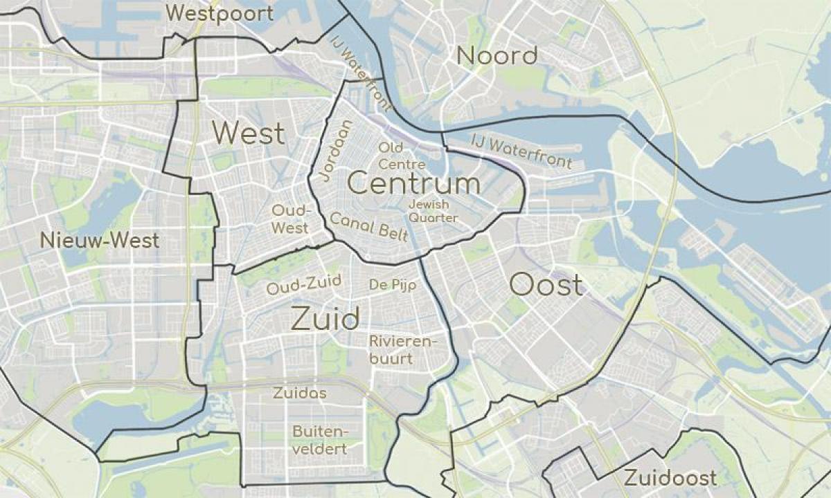 Amsterdam Distriktene Kart Kart Over Amsterdam Som Viser