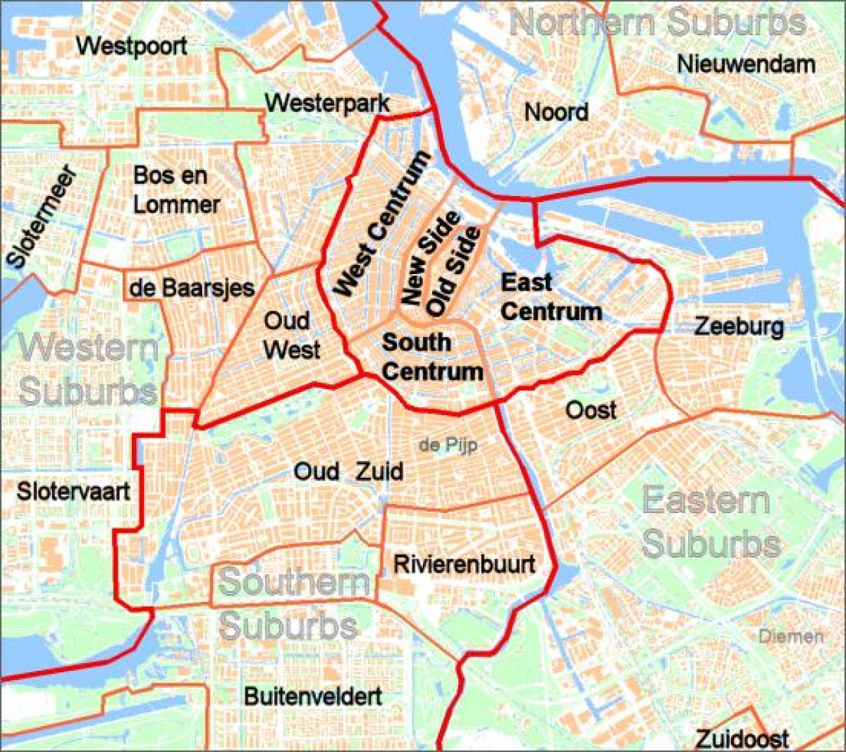 Amsterdam Forstedene Kart Kart Over Amsterdam Forsteder Nederland