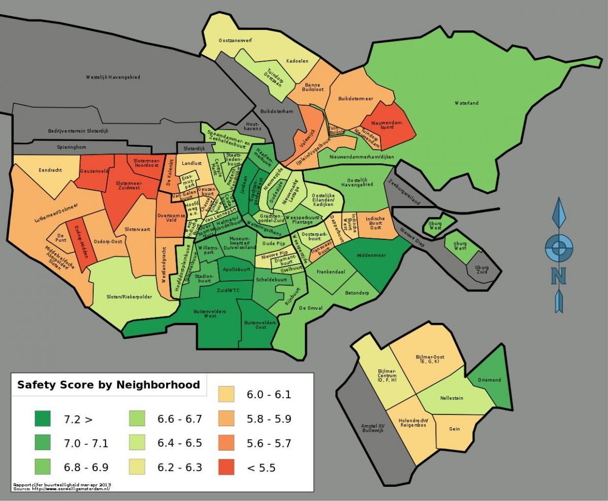 Amsterdam Sikkerhet Kart Kart Over Amsterdam Sikkerhet Nederland