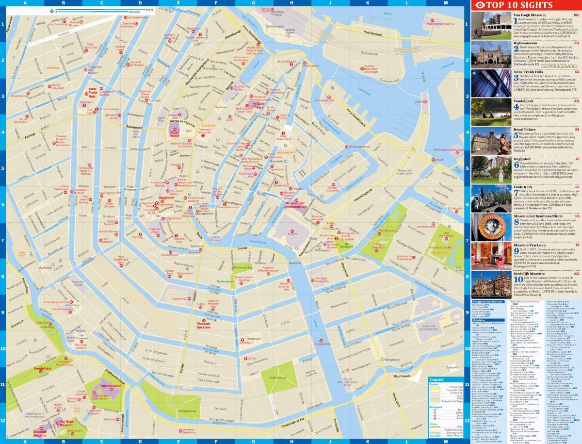 Turist Kart Over Amsterdam City Center Amsterdam City Kart Med